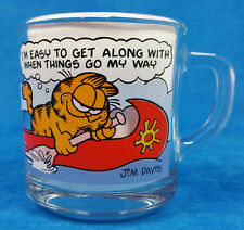 Vintage McDonald's GARFIELD & Oddie Comic Strip Clear Glass COFFEE Mug Cup VGC!