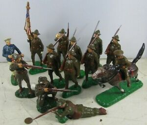 """Lot of Vintage 1920's Composition Trico Japan 5 1/2"""" Tall WWI Dough Boy Army Men"""
