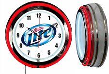 """Miller Lite Beer 19"""" Double Neon Clock Man Cave Bar Garage Bar Red Neon"""