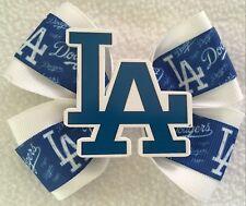 "Girls Hair Bow 4"" Wide LA Dodgers White Blue Grosgrain Ribbon French Barrette"