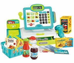 Kids Electronic Cash Register Toy & Play Food Set Supermarket Till Pretend Play