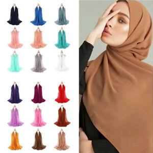 Women Ladies Plain Bubble Chiffon Hijab Islamic Muslim Head Turban Scarf Shawls
