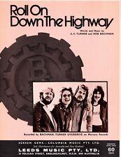 Bachman-Turner Overdrive-Roll On Down The Highway 1974 Australian sheet music