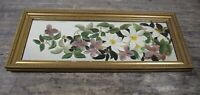 Antique Gold Gilt Wooden Wall Mirror With Hand Painted Floral Design