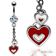 Belly Button Piercing Silver Navel Stud Heart Pendant Necklace Red White