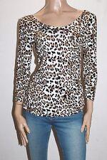 NOW Brand Animal Print Double Scoop Neckline 3/4 Sleeve Top Size 12-M BNWT #SL40