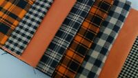 Halloween Orange Black Plaid Antique Primitive Rag Quilt Doll Homespun Fabric