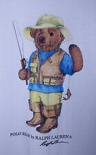 Vintage POLO BEAR FISHERMAN Original Tshirt L White Fishing Ralph Lauren