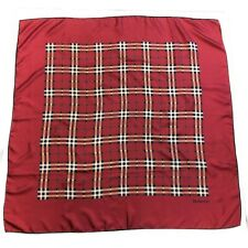 90's Vintage Burberry Silk Square Scarf Nova Check Wine Red 88cm Authentic