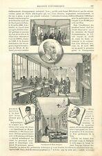 Atelier Ecole d'Horlogerie Horloger Buttes Chaumont Paris GRAVURE OLD PRINT 1889