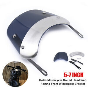 5-7 INCH Retro Motorcycle Round Headlamp Fairing Front Windshield Bracket Parts