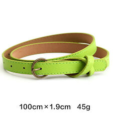 Green Women Ladies Knotted Skinny Belt Faux Leather Dress Waistband Strap