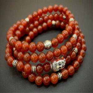 6MM Red Agate Gemstone Mala Bracelet 108 Beads Handmade Reiki Meditation Unisex