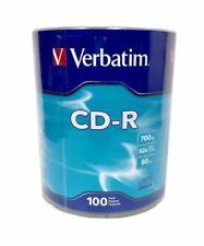 100 Verbatim CD-R 52X Logo Branded CD-R CDR Blank Disc Media 700MB