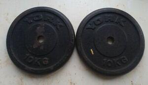 YORK cast iron 10kg Plates X2 1 inch hole