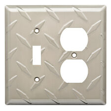 W32845-SN Diamond Plate Single Switch / Duplex Outlet Cover Plate Satin Nickel