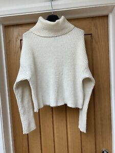 Ladies New Look Cream Ripped Polo Neck Jumper Size S