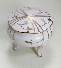 Original Arnart Creations Vtg Japan porcelain 3 footed round pink trinket box