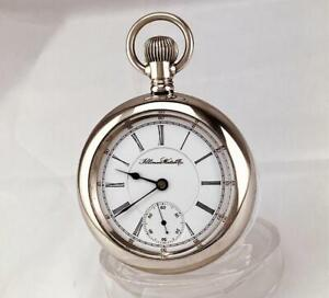 1915 ILLINOIS 17 Jewels Pocket Watch in SCENE ENGRAVED CASE Mint Dial 18s - RUNS