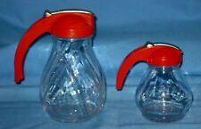Vtg Lot 2 Orange/Red Maple Syrup Pitcher W/Sliding lids & Glass!