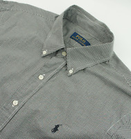 Ralph Lauren Classic Fit Gingham Checked Shirt Mens Size L Large Long Sleeve