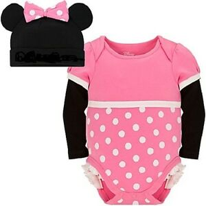 Baby girl dress -Disney Minnie Mouse costume- Cuddly Bodysuit & Cap -Polka dot