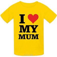 Infantil 100% Camiseta Algodón I LOVE MY Mamá diseño Corazón Mum