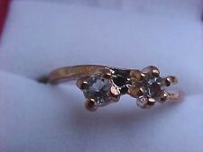 Cubic Zirconia Ring Solitaire Double Gold Prong Set Sz 9