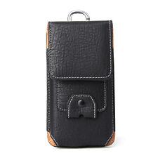 PU Leather Portable Headset Belt Clip Holster Phone Case Waist Bag Card Slots