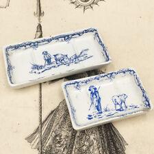 2 Portes Savon Brosse Miniature Faïence LUNEVILLE 19ème Poupée Dinette Old Game