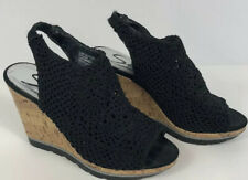 Sketchers Women Wedge Black Sandel Size 7 Black Cork Bed, Crochet Skin