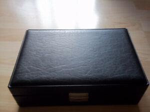 schwarzer Kunstleder Schmuckkasten mit herausnehmbarem Einsatz, Ringhalter etc.