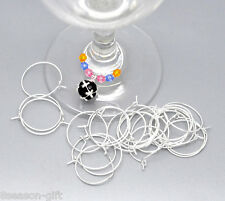 1000 SP Wine Glass Charm Rings /Earring Hoops 25x20mm