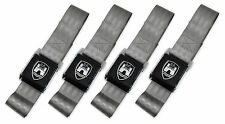 VW WOLFSBURG 2 POINT BLACK BUCKLE GREY LAP SEAT BELT SET TYPE 1 2 3 BUG BUS GHIA