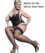 Lace Top 20 Denier Sheer Hold-ups Stockings 19 Various Colours Sizes M-xxxxl Dark Beige 2 M