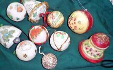 10 Vintage Christmas Ornaments - ASST. SOME HOMEMADE STYROFOAM, PLASTIC, RESIN