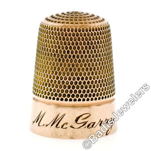 Antique Art Deco 9K Gold Engraved Etched Large Collectible Sewing Thimble 1920