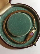 Antique Victorian Yellow Metal Agate Paste Head Snake Bracelet