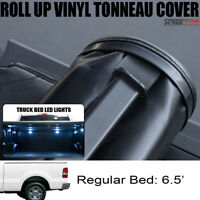 Lock & Roll-Up Tonneau Cover+LED Lights For 04-14 F150/06-08 Mark LT 6.5 Ft Bed