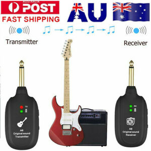 Electric Guitar Bass Wireless System Transmitter Receiver Audio Rechargeable AU