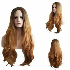 Natural full long wavy natural dark roots auburn copper light brown ombre wig