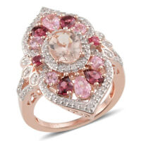 925 Sterling Silver Rose Gold Plated Morganite Spinel Engagement Ring Ct 5.5 -ST
