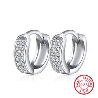 Damen Ohrringe Klapp Creolen 925 Sterling Silber Zirkonia Ohrschmuck Geschenk DE