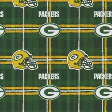Fabric Green Bay Packers NFL on Green Flannel by the 1/4 yard BIN
