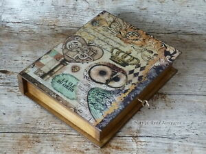 Wooden Jewelry box with Key. Owl decor vintage style book shaped treasure box.