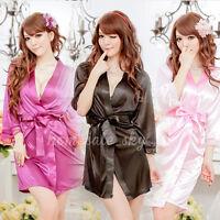 NEW Women Sexy Silk Satin Lace Sleepwear Gown Bath Robe Fashion Nightwear Dress