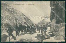 Verbania Domodossola Strada del Sempine Nevicata Slitte cartolina VK1552