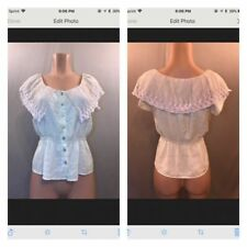 Poetry Cream Beige Lace Peasant Button Up Cropped Top