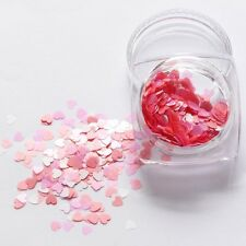 Valentines Nail Art Holographic PINK Heart Shape Spangles Glitter 3D Decoration
