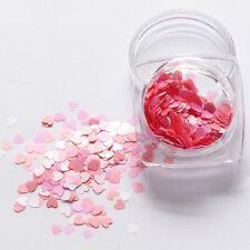 Día de San Valentín Arte en Uñas Holográfico Rosa Corazón Forma Lentejuelas brillo 3D Decoración